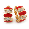 Gold Plated Red Enamel Crystal C Shape Clip On Earrings - 20mm Length