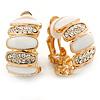Gold Plated White Enamel Crystal C Shape Clip On Earrings - 20mm Length
