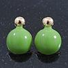 Teen Lime Green Enamel Dome Shaped Stud Earrings In Gold Plating - 20mm Length
