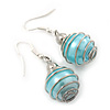 Silver Tone Light Blue Faux Pearl Drop Earrings - 4cm Drop