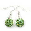 Light Green Crystal 'Ball' Drop Earrings In Silver Plating - 35mm Length