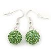 Light Green Crystal 'Ball' Drop Earrings In Silver Plating - 35mm Length
