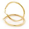 Large Classic Polished Gold Tone Hoop Earrings - 50mm Diameter