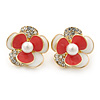 Gold Plated White/ Coral Enamel, Crystal 3D Flower Stud Earrings - 20mm Diameter