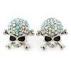 AB Crystal 'Skull & Crossbones' Stud Earrings In Rhodium Plating - 20mm Length