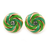 Light Green Enamel, Diamante 'Candy' Stud Earrings In Gold Plating - 13mm Diameter