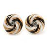 Black/ White Enamel, Diamante 'Candy' Stud Earrings In Gold Plating - 13mm Diameter