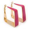 Contemporary Square Fuchsia Enamel Hoop Earrings In Gold Plating - 40mm Width