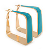 Contemporary Square Teal Enamel Hoop Earrings In Gold Plating - 40mm Width
