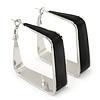 Contemporary Square Black Enamel Hoop Earrings In Rhodium Plating - 50mm Width