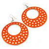 Large Lightweight Neon Orange Enamel Hoop Earrings In Rhodium Plating - 8cm Drop