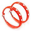 Medium Neon Orange Enamel Cut Out Heart Hoop Earrings - 50mm Diameter