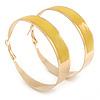 Large Wide Yellow Enamel Hoop Earrings In Gold Plating - 60mm Diameter
