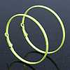 Large Neon Yellow Enamel Flat Hoop Earrings In Silver Tone - 60mm Diameter