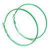 Large Lime Green Enamel Flat Hoop Earrings In Silver Tone - 60mm Diameter