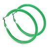 Large Lime Green Enamel Hoop Earrings In Silver Tone - 60mm Diameter