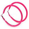 Large Neon Pink Enamel Hoop Earrings In Silver Tone - 60mm Diameter