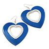 Large Blue Enamel 'Heart' Hoop Earrings In Rhodium Plating - 70mm Drop