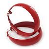 Wide Medium Red Enamel Hoop Earrings - 40mm Diameter