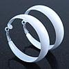 Wide Medium White Enamel Hoop Earrings - 55mm Diameter