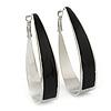 Rhodium Plated Black Enamel Oval Hoop Earrings - 6cm Length