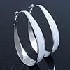 Rhodium Plated White Enamel Oval Hoop Earrings - 7.5cm Long