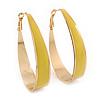 Gold Plated Yellow Enamel Oval Hoop Earrings - 6cm Length