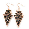 Black, Grey Enamel Crystal Triangular Drop Earrings In Gold Plating - 60mm Length