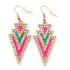 Deep Pink, Green Enamel Crystal Triangular Drop Earrings In Gold Plating - 60mm Length