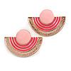 Light/ Deep Pink Enamel 'Half Moon' Egyptian Style Stud Earrings In Gold Plating - 45mm Width
