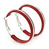 Medium Red Enamel Hoop Earrings In Silver Tone - 40mm Diameter