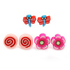 Children's/ Teen's / Kid's Fimo Deep Pink Flower, Pink Candy & Red/Blue Butterfly Stud Earrings Set - 10mm Across