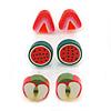 Children's/ Teen's / Kid's Fimo Red Strawberry, Green/Red Watermelon & Red/Green Apple Fruit Stud Earrings Set - 10mm Across