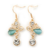 Clear Crystal, Light Blue Cat Eye Stone Butterfly Drop Earrings In Gold Plating - 50mm Length
