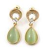 Light Green Cat Eye Teardrop Earrings In Gold Plating - 33mm Length