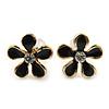 Children's/ Teen's / Kid's Small Black 'Daisy' Floral Stud Earrings In Gold Plating - 10mm Diameter