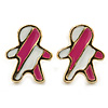 Children's/ Teen's / Kid's Small Deep Pink, White Enamel 'Gingerbread Man' Stud Earrings In Gold Plating - 10mm Length