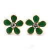 Children's/ Teen's / Kid's Small Green Enamel 'Flower' Stud Earrings In Gold Plating - 12mm Length