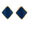 Children's/ Teen's / Kid's Tiny Blue Enamel 'Square' Stud Earrings In Gold Plating - 8mm Length