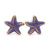 Children's/ Teen's / Kid's Tiny Light Purple Enamel 'Starfish' Stud Earrings In Gold Plating - 8mm Diameter