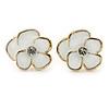 Children's/ Teen's / Kid's Small White Enamel 'Daisy' Stud Earrings In Gold Plating - 11mm Diameter