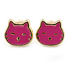 Children's/ Teen's / Kid's Tiny Deep Pink Enamel 'Kitten' Stud Earrings In Gold Plating - 7mm Width