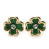 Children's/ Teen's / Kid's Tiny Grass Green Enamel 'Daisy' Stud Earrings In Gold Plating - 7mm Diameter