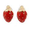Children's/ Teen's / Kid's Tiny Red Enamel 'Strawberry' Stud Earrings In Gold Plating - 9mm Length