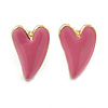 Children's/ Teen's / Kid's Small Baby Pink Enamel 'Heart' Stud Earrings In Gold Plating - 9mm Length