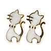 Children's/ Teen's / Kid's Small White Enamel 'Cat' Stud Earrings In Gold Plating - 15mm Length