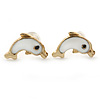 Children's/ Teen's / Kid's Small White Enamel 'Dolphin' Stud Earrings In Gold Plating - 10mm Length