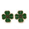 Children's/ Teen's / Kid's Tiny Grass Green Enamel 'Clover' Stud Earrings In Gold Plating - 10mm Diameter