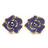 Children's/ Teen's / Kid's Small Purple Enamel 'Flower' Stud Earrings In Gold Plating - 10mm Length
