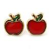 Children's/ Teen's / Kid's Tiny Red Enamel 'Apple' Stud Earrings In Gold Plating - 8mm Length